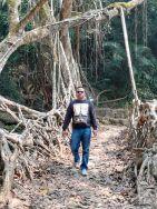 Walking through a Root Bridge, Meghalaya, Assam